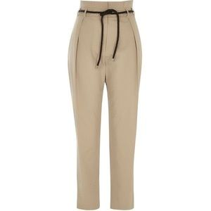 River Island Beige Paper Bag Waist Tapered Pant